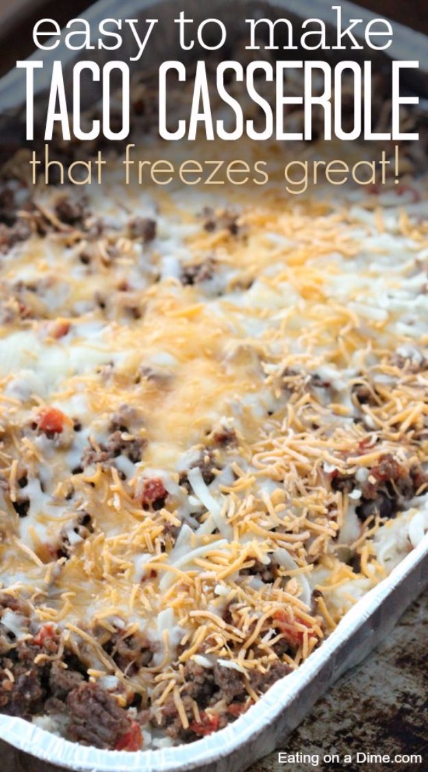 Healthy Crockpot Recipes to Make and Freeze Ahead - Easy Taco Rice Casserole - Easy and Quick Dinners, Soups, Sides You Make Put In The Freezer for Simple Last Minute Cooking - Low Fat Chicken, beef stew recipe