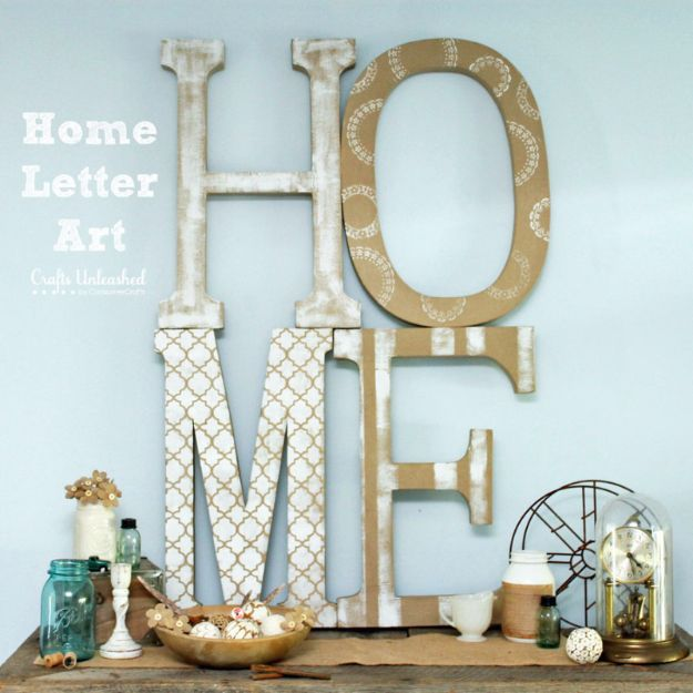 DIY Wall Letters and Word Signs - Extra Large DIY Letter Home Art - Initials Wall Art for Creative Home Decor Ideas - Cool Architectural Letter Projects and Wall Art Tutorials for Living Room Decor, Bedroom Ideas. Girl or Boy Nursery. Paint, Glitter, String Art, Easy Cardboard and Rustic Wooden Ideas - DIY Projects and Crafts by DIY JOY http://diyjoy.com/diy-letter-word-signs