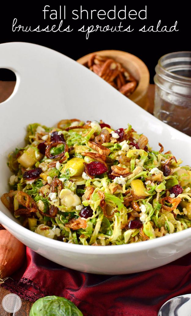 Best Brussel Sprout Recipes - Fall Shredded Brussels Sprouts Salad - Easy and Quick Delicious Ideas for Making Brussel Sprouts With Bacon, Roasted, Creamy, Healthy, Baked, Sauteed, Crockpot, Grilled, Shredded and Salad Recipe Ideas - Cool Lunches, Dinner, Snack, Side and DIY Dinner Vegetable Dishes http://diyjoy.com/best-brussel-sprout-recipes