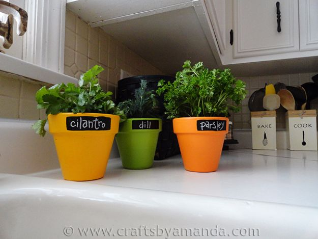 DIY Mothers Day Gift Ideas - Faux Chalkboard Herb Pots - Homemade Gifts for Moms - Crafts and Do It Yourself Home Decor, Accessories and Fashion To Make For Mom - Mothers Love Handmade Presents on Mother's Day - DIY Projects and Crafts by DIY JOY