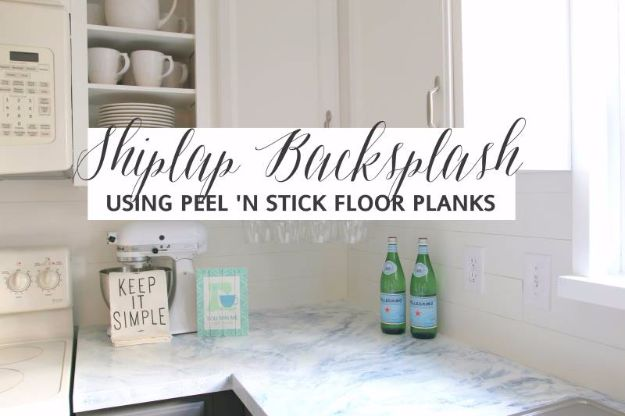 DIY Home Improvement On A Budget - Faux Shiplap Backsplash with Peel 'n Stick Flooring - Easy and Cheap Do It Yourself Tutorials for Updating and Renovating Your House - Home Decor Tips and Tricks, Remodeling and Decorating Hacks - DIY Projects and Crafts by DIY JOY #homeimprovement #diyhome #diyideas #homeimprovementideas http://diyjoy.com/diy-home-improvement-ideas-budget