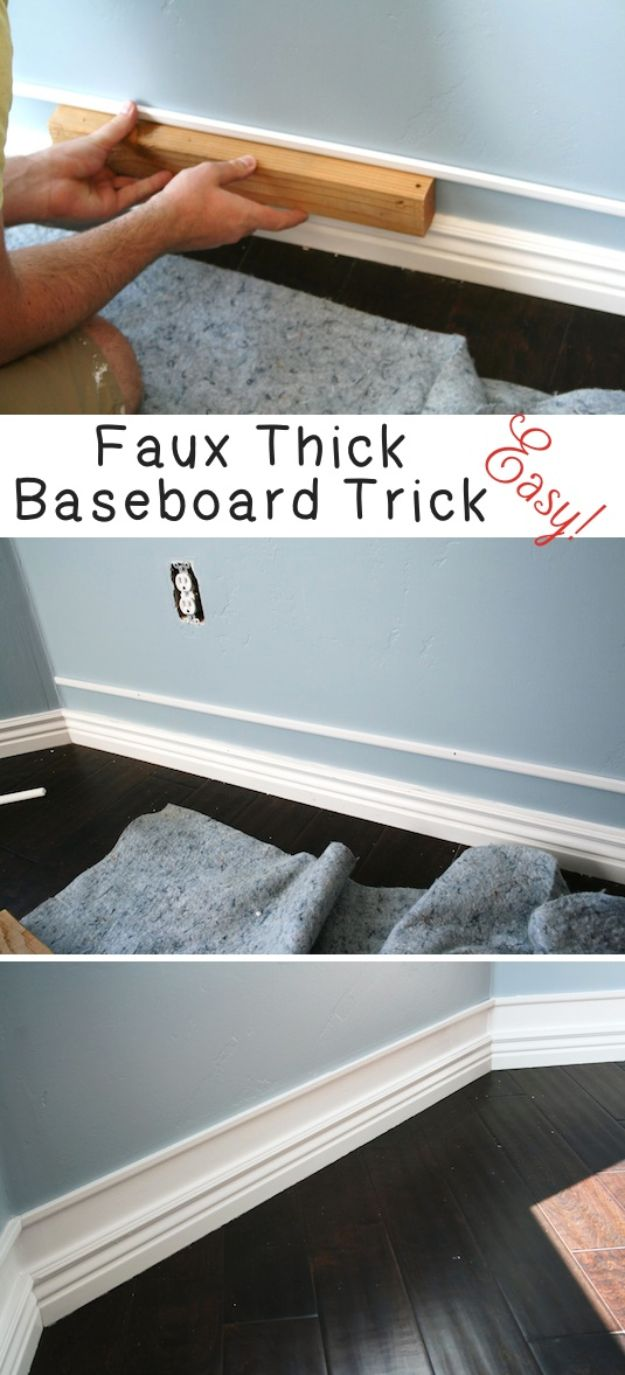 DIY Home Improvement On A Budget - Faux Thick Baseboard - Easy and Cheap Do It Yourself Tutorials for Updating and Renovating Your House - Home Decor Tips and Tricks, Remodeling and Decorating Hacks - DIY Projects and Crafts by DIY JOY #diy