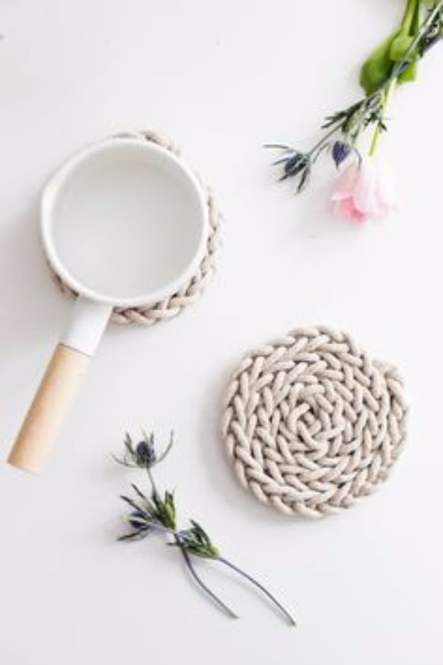 DIY Mothers Day Gift Ideas - Finger Knit Rope Trivet - Homemade Gifts for Moms - Crafts and Do It Yourself Home Decor, Accessories and Fashion To Make For Mom - Mothers Love Handmade Presents on Mother's Day - DIY Projects and Crafts by DIY JOY http://diyjoy.com/diy-mothers-day-gifts