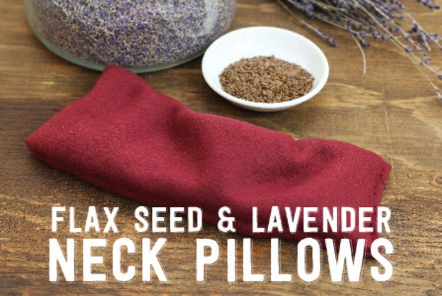 DIY Ideas with Dried Herbs - Flax Seed And Lavender Neck Pillows - Creative Home Decor With Easy Step by Step Tutorials for Making Herb Crafts, Projects and Recipes - Cool DIY Gift Ideas and Cheap Homemade Gifts - DIY Projects and Crafts by DIY JOY #diy #herbs #gifts