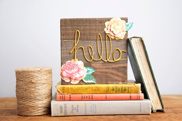 DIY Wall Letters and Word Signs - Floral Wood DIY Welcome Sign - Initials Wall Art for Creative Home Decor Ideas - Cool Architectural Letter Projects and Wall Art Tutorials for Living Room Decor, Bedroom Ideas. Girl or Boy Nursery. Paint, Glitter, String Art, Easy Cardboard and Rustic Wooden Ideas - DIY Projects and Crafts by DIY JOY #diysigns #diyideas #diyhomedecor