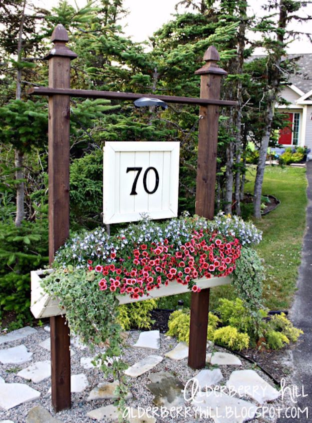 DIY House Numbers - Flower Box House Number - DIY Numbers To Put In Front Yard and At Front Door - Architectural Numbers and Creative Do It Yourself Projects for Making House Numbers - Easy Step by Step Tutorials and Project Ideas for Home Improvement on A Budget http://diyjoy.com/diy-house-numbers