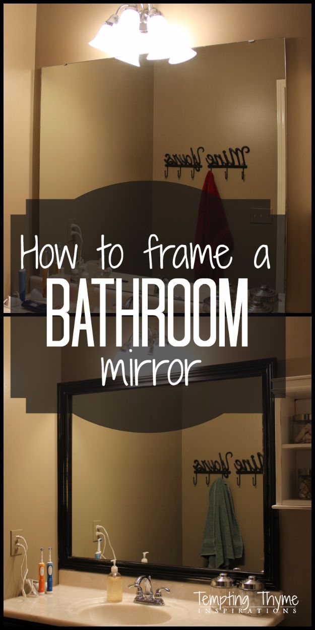 DIY Home Improvement On A Budget - Frame A Bathroom Mirror - Easy and Cheap Do It Yourself Tutorials for Updating and Renovating Your House - Home Decor Tips and Tricks, Remodeling and Decorating Hacks - DIY Projects and Crafts by DIY JOY #diy