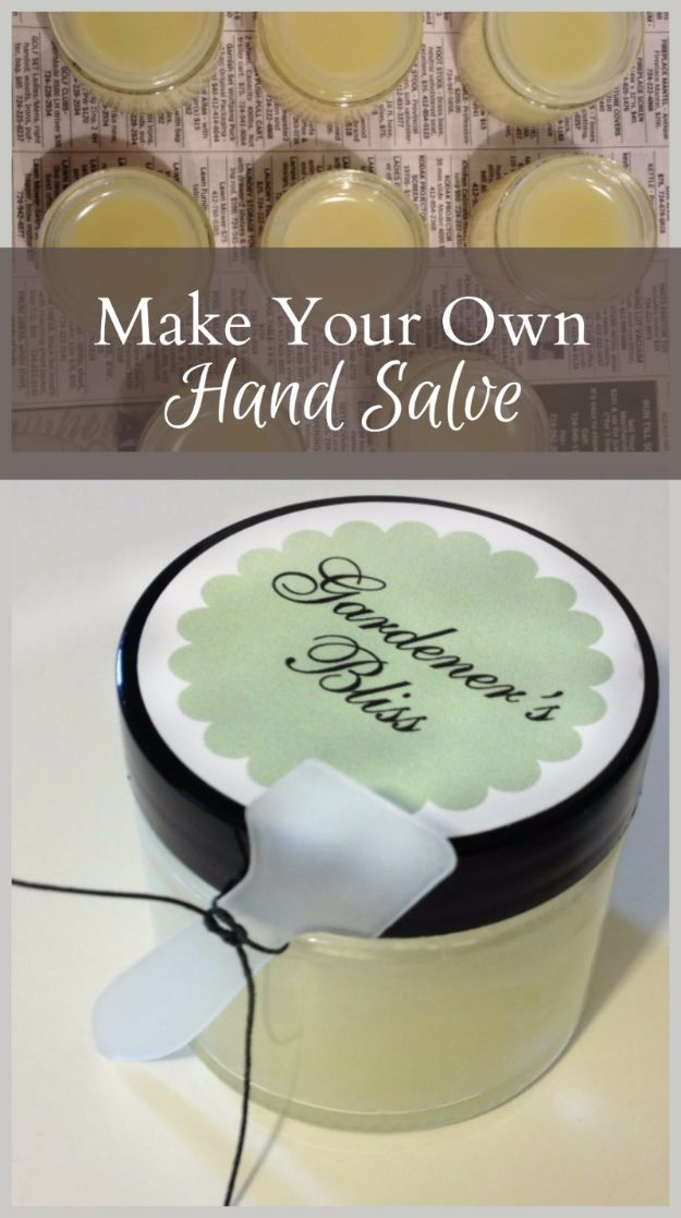 DIY Mothers Day Gift Ideas - Gardener's Bliss Hand Salve - Homemade Gifts for Moms - Crafts and Do It Yourself Home Decor, Accessories and Fashion To Make For Mom - Mothers Love Handmade Presents on Mother's Day - DIY Projects and Crafts by DIY JOY http://diyjoy.com/diy-mothers-day-gifts