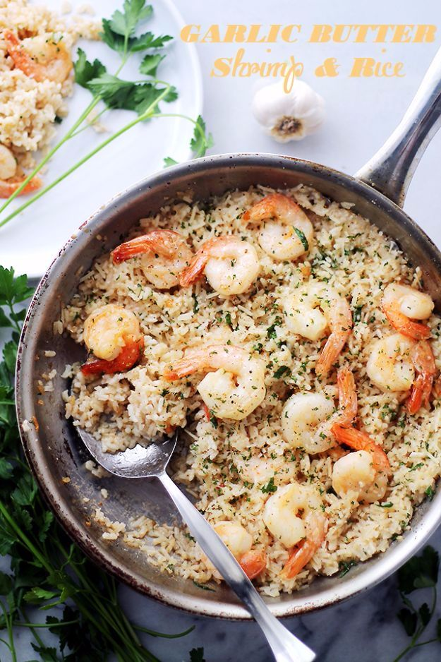 Best Rice Recipes - Garlic Butter Shrimp And Rice - Easy Ideas for Quick Meals Made From a Bag of Rice - Healthy Recipes With Brown, White and Arborio Rice - Cheesy, Fried, Asian, Mexican Flavored Dinner Dishes and Side Dishes - DIY Projects and Crafts by DIY JOY