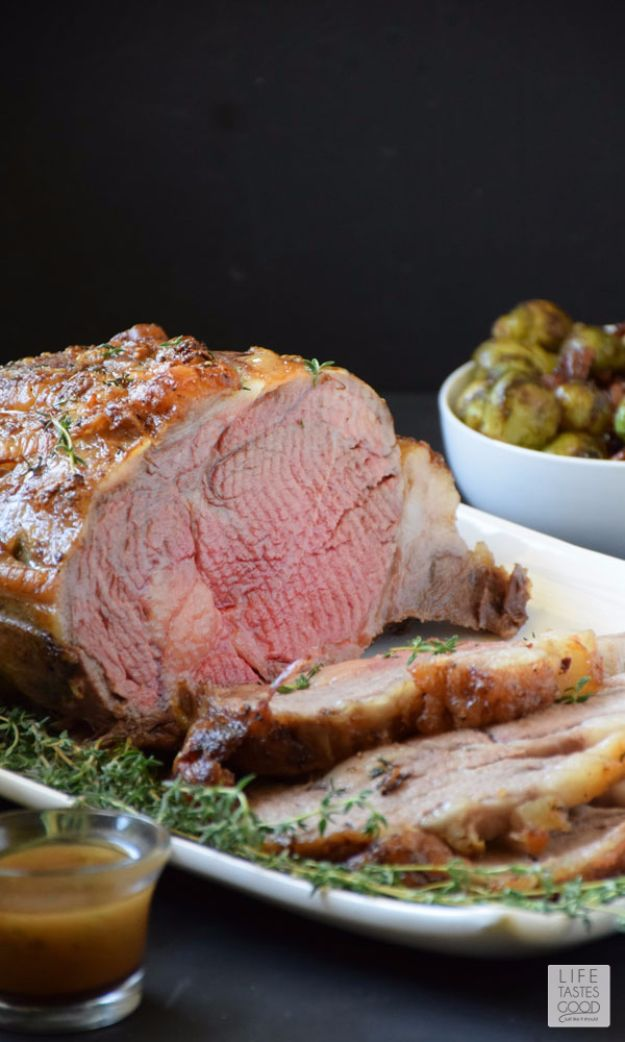 Best Easter Dinner Recipes - Garlic Crusted Prime Rib Roast - Easy Recipe Ideas for Easter Dinners and Holiday Meals for Families - Side Dishes, Slow Cooker Recipe Tutorials, Main Courses, Traditional Meat, Vegetable and Dessert Ideas - Desserts, Pies, Cakes, Ham and Beef, Lamb - DIY Projects and Crafts by DIY JOY