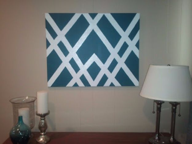 DIY Canvas Painting Ideas - Geometric Canvas Painting - Cool and Easy Wall Art Ideas You Can Make On A Budget #painting #diyart #diygifts