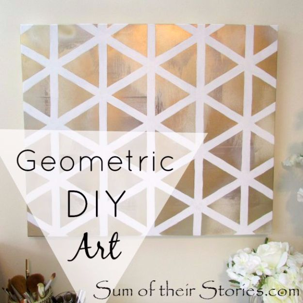 DIY Canvas Painting Ideas - Geometric DIY art - Cool and Easy Wall Art Ideas You Can Make On A Budget #painting #diyart #diygifts