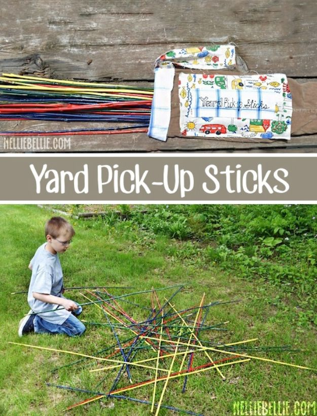 Best DIY Backyard Games - Giant Pick Up Sticks - Cool DIY Yard Game Ideas for Adults, Teens and Kids - Easy Tutorials for Cornhole, Washers, Jenga, Tic Tac Toe and Horseshoes - Cool Projects for Outdoor Parties and Summer Family Fun Outside #diy #backyard #kids #games
