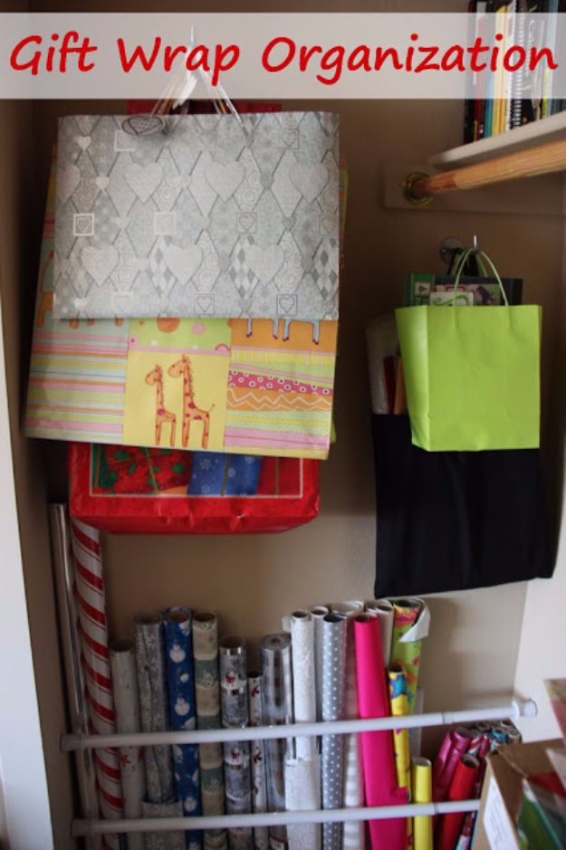 Cool DIY Ideas With Tension Rods - Gift Wrap Organization & Storage - Quick Do It Yourself Projects, Easy Ways To Save Money, Hacks You Can Do With A Tension Rod - Window Treatments, Small Spaces, Apartments, Storage