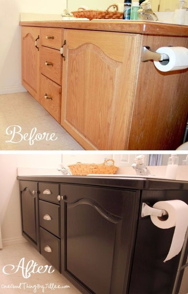 DIY Home Improvement On A Budget - Give Your Old Bathroom Cabinets A Facelift - Easy and Cheap Do It Yourself Tutorials for Updating and Renovating Your House - Home Decor Tips and Tricks, Remodeling and Decorating Hacks - DIY Projects and Crafts by DIY JOY #diy #homeimprovement #diyhome #diyideas #homeimprovementideas http://diyjoy.com/diy-home-improvement-ideas-budget