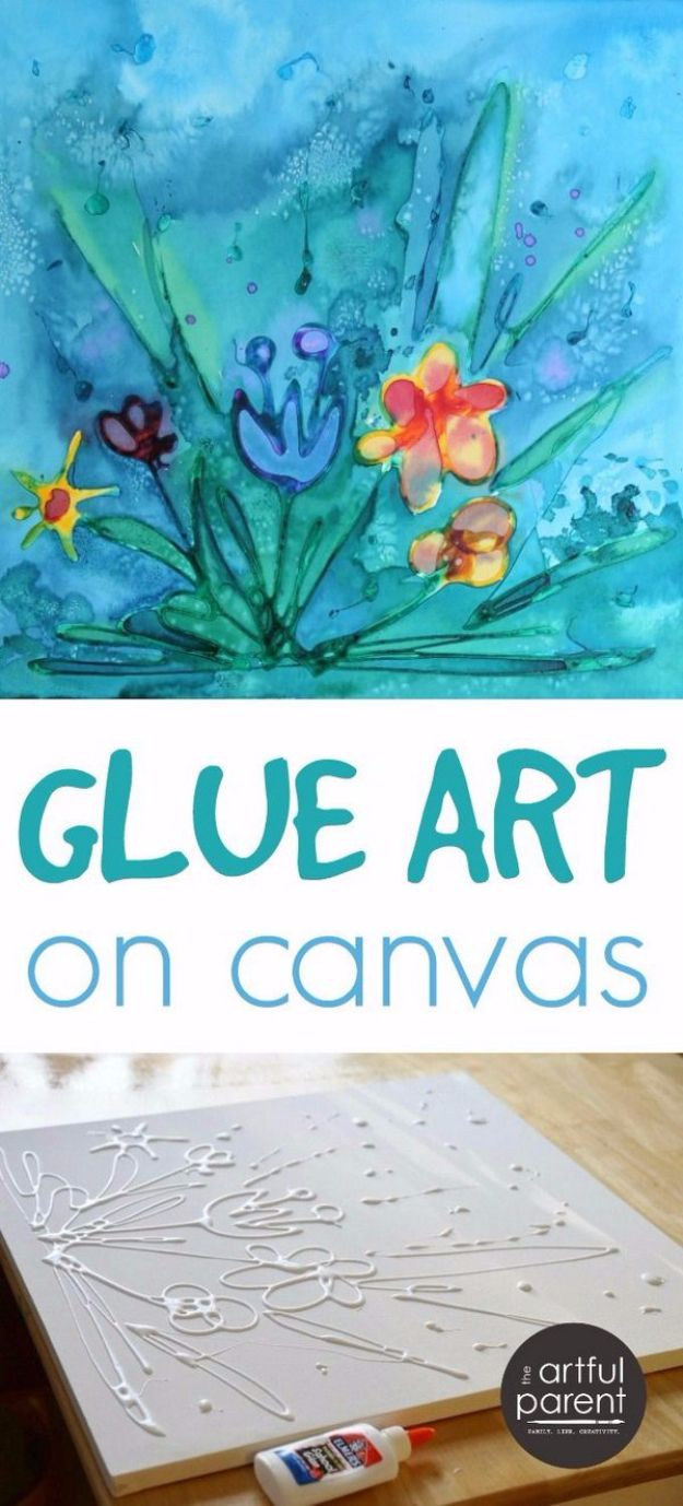 DIY Canvas Painting Ideas - Glue Art On Canvas With Watercolors - Cool and Easy Wall Art Ideas You Can Make On A Budget #painting #diyart #diygifts