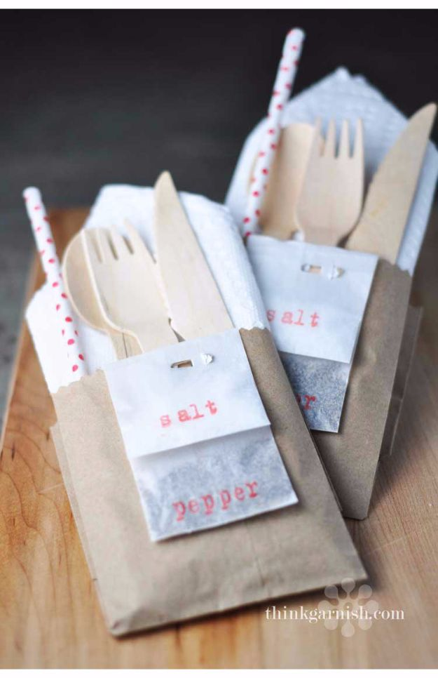 DIY Outdoors Wedding Ideas - Grab And Go Utensils - Step by Step Tutorials and Projects Ideas for Summer Brides - Lighting, Mason Jar Centerpieces, Table Decor, Party Favors, Guestbook Ideas, Signs, Flowers, Banners, Tablecloth #wedding #diy