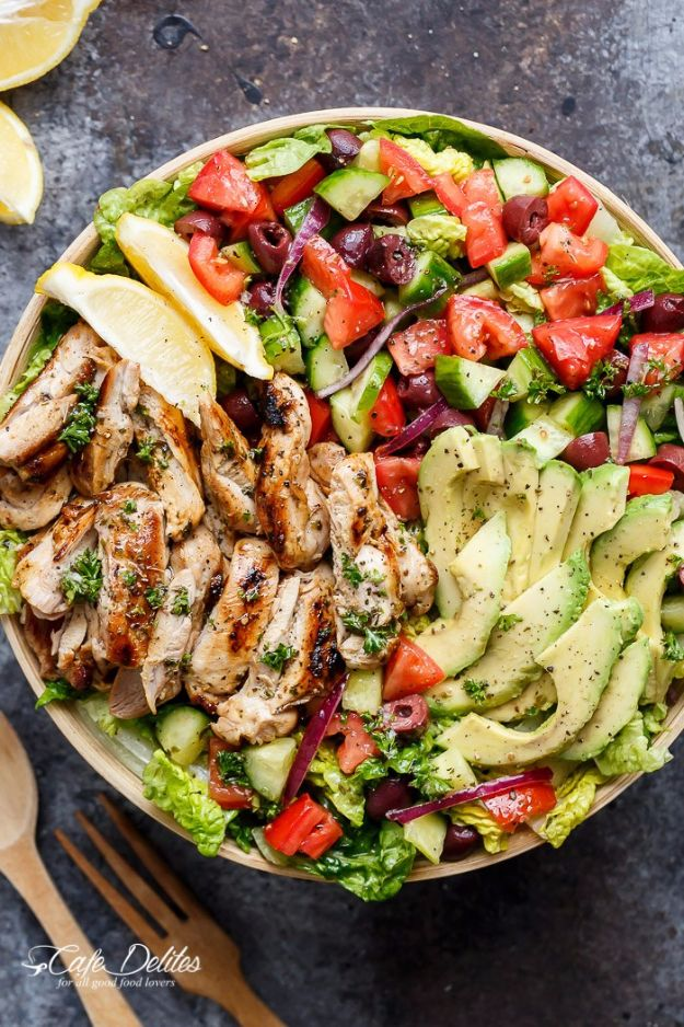 Best Dinner Salad Recipes - Grilled Lemon Herb Mediterranean Chicken Salad - Easy Salads to Make for Quick and Healthy Dinners - Healthy Chicken, Egg, Vegetarian, Steak and Shrimp Salad Ideas - Summer Side Dishes, Hearty Filling Meals, and Low Carb Options #saladrecipes #dinnerideas #salads #healthyrecipes