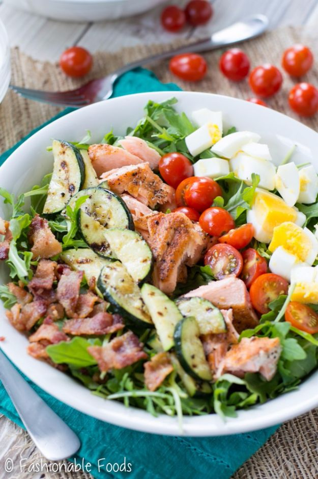 Best Dinner Salad Recipes - Grilled Salmon Cobb Salad - Easy Salads to Make for Quick and Healthy Dinners - Healthy Chicken, Egg, Vegetarian, Steak and Shrimp Salad Ideas - Summer Side Dishes, Hearty Filling Meals, and Low Carb Options #saladrecipes #dinnerideas #salads #healthyrecipes