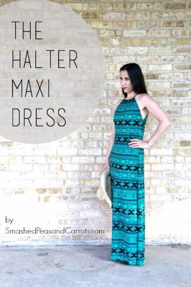 DIY Dresses to Sew for Summer - Halter Maxi Dress - Best Free Patterns For Dress Ideas - Easy and Cheap Clothes to Make for Women and Teens - Step by Step Sewing Projects - Short, Summer, Winter, Fall, Inexpensive DIY Fashion