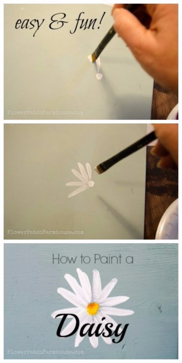 DIY Canvas Painting Ideas - Handpainted Daisy - Cool and Easy Wall Art Ideas You Can Make On A Budget #painting #diyart #diygifts