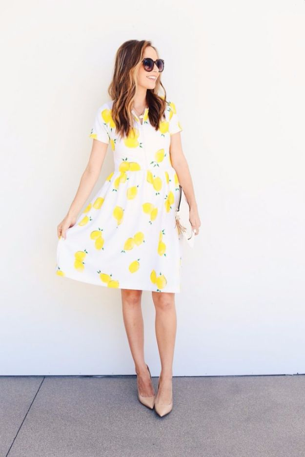 DIY Dresses to Sew for Summer - Handpainted Front Zip Lemon Dress - Best Free Patterns For Dress Ideas - Easy and Cheap Clothes to Make for Women and Teens - Step by Step Sewing Projects - Short, Summer, Winter, Fall, Inexpensive DIY Fashion