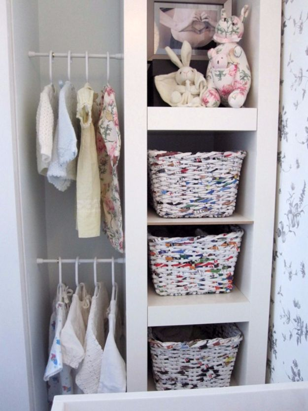 Cool DIY Ideas With Tension Rods - Hang Baby Clothes Using Tension Rods - Quick Do It Yourself Projects, Easy Ways To Save Money, Hacks You Can Do With A Tension Rod - Window Treatments, Small Spaces, Apartments, Storage