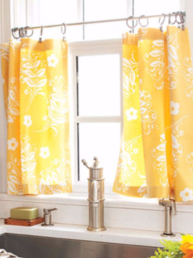 Cool DIY Ideas With Tension Rods - Hang Cafe Curtains - Quick Do It Yourself Projects, Easy Ways To Save Money, Hacks You Can Do With A Tension Rod - Window Treatments, Small Spaces, Apartments, Storage