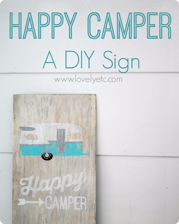 DIY Wall Letters and Word Signs - Happy Camper DIY Sign - Initials Wall Art for Creative Home Decor Ideas - Cool Architectural Letter Projects and Wall Art Tutorials for Living Room Decor, Bedroom Ideas. Girl or Boy Nursery. Paint, Glitter, String Art, Easy Cardboard and Rustic Wooden Ideas - DIY Projects and Crafts by DIY JOY #diysigns #diyideas #diyhomedecor