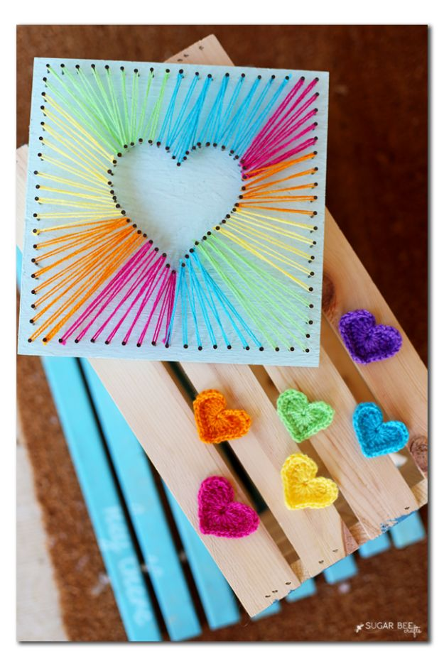 DIY Mothers Day Gift Ideas - Heart String Art - Homemade Gifts for Moms - Crafts and Do It Yourself Home Decor, Accessories and Fashion To Make For Mom - Mothers Love Handmade Presents on Mother's Day - DIY Projects and Crafts by DIY JOY