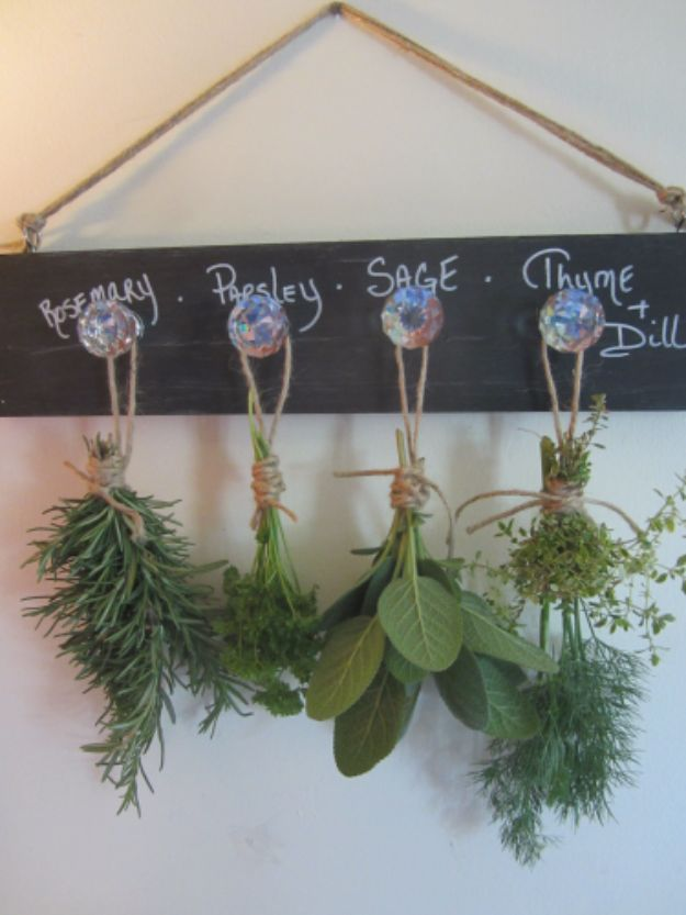 DIY Ideas with Dried Herbs - Herb Drying Rack Wall Decor - Creative Home Decor With Easy Step by Step Tutorials for Making Herb Crafts, Projects and Recipes - Cool DIY Gift Ideas and Cheap Homemade Gifts - DIY Projects and Crafts by DIY JOY #diy #herbs #gifts