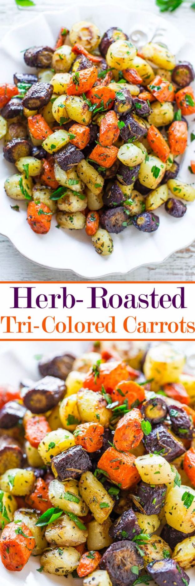 Best Easter Dinner Recipes - Herb Roasted Tri Colored Carrots - Easy Recipe Ideas for Easter Dinners and Holiday Meals for Families - Side Dishes, Slow Cooker Recipe Tutorials, Main Courses, Traditional Meat, Vegetable and Dessert Ideas - Desserts, Pies, Cakes, Ham and Beef, Lamb - DIY Projects and Crafts by DIY JOY