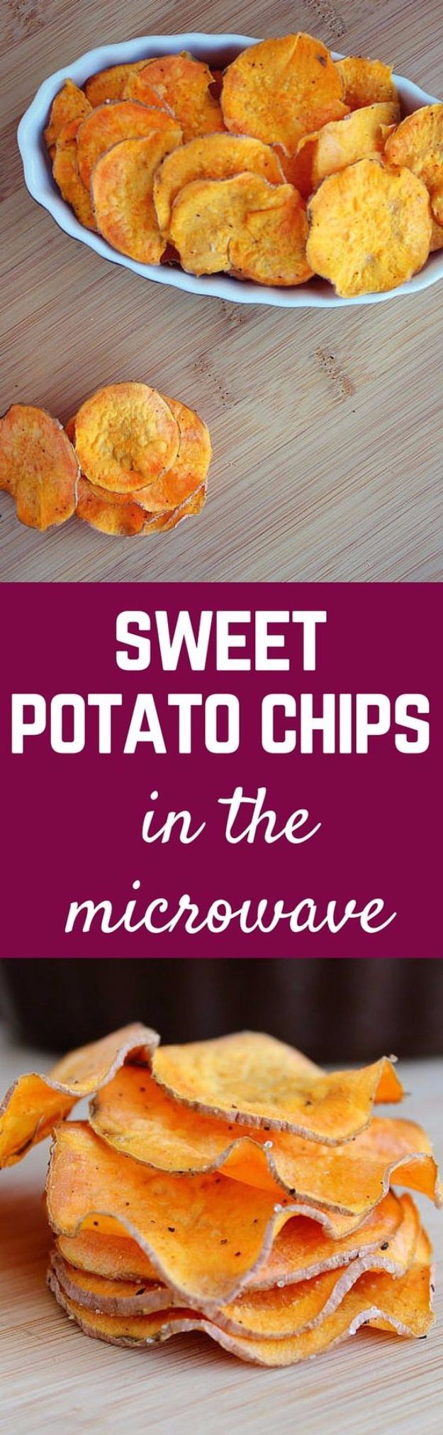 Easy Snacks You Can Make In Minutes - Homemade Sweet Potato Chips - Quick Recipes and Tricks for Making After Workout and After School Snack - Fast Ideas for Instant Small Meals and Treats - No Bake, Microwave and Simple Prep Makes Snacking Fun #snacks #recipes