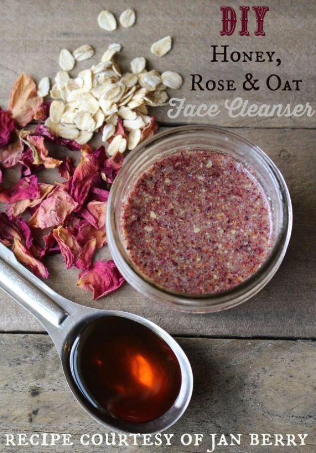DIY Ideas With Rose Petals - Honey Rose Petal And Oat Face Cleaner - Crafts and DIY Projects, Recipes You Can Make With Rose Petals - Creative Home Decor and Gift Ideas Make Awesome Mothers Day and Christmas Gifts - Crafts and Do It Yourself by DIY JOY #rosecrafts #diygifts