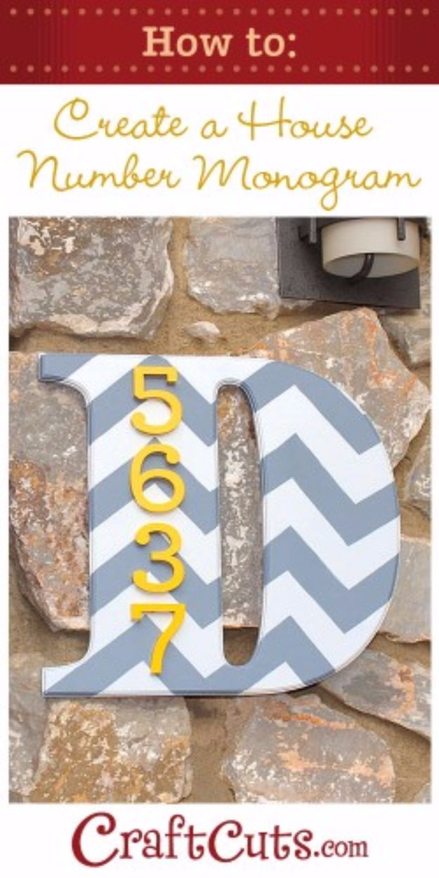 DIY House Numbers - House Address Number Monogram - DIY Numbers To Put In Front Yard and At Front Door - Architectural Numbers and Creative Do It Yourself Projects for Making House Numbers - Easy Step by Step Tutorials and Project Ideas for Home Improvement on A Budget http://diyjoy.com/diy-house-numbers