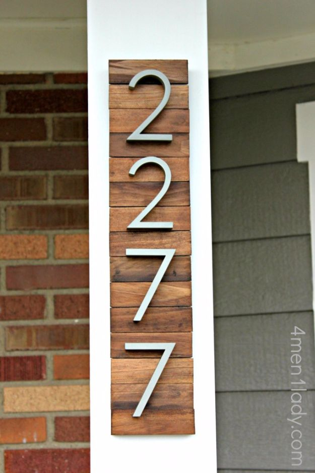 DIY Home Improvement On A Budget - House Number From Paint Stirrers - Easy and Cheap Do It Yourself Tutorials for Updating and Renovating Your House - Home Decor Tips and Tricks, Remodeling and Decorating Hacks - DIY Projects and Crafts by DIY JOY http://diyjoy.com/diy-home-improvement-ideas-budget