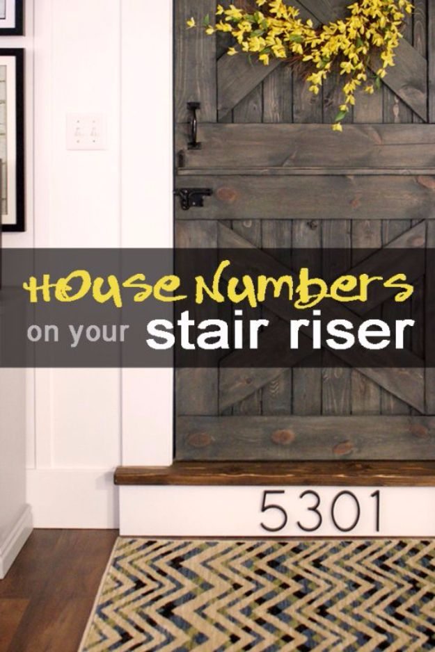 DIY House Numbers - House Number Installed On A Stair Riser - DIY Numbers To Put In Front Yard and At Front Door - Architectural Numbers and Creative Do It Yourself Projects for Making House Numbers - Easy Step by Step Tutorials and Project Ideas for Home Improvement on A Budget http://diyjoy.com/diy-house-numbers