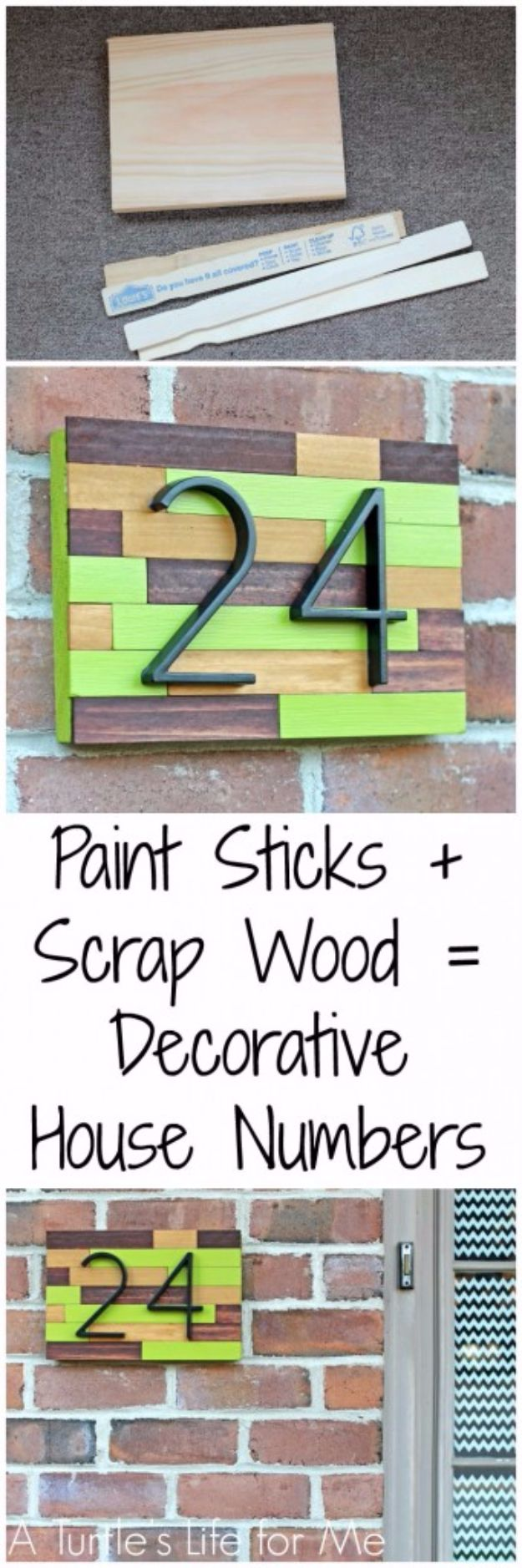 DIY House Numbers - House Number Plaque From Paint Sticks And Scrap Wood - DIY Numbers To Put In Front Yard and At Front Door - Architectural Numbers and Creative Do It Yourself Projects for Making House Numbers - Easy Step by Step Tutorials and Project Ideas for Home Improvement on A Budget #homeimprovement #diyhomedecor
