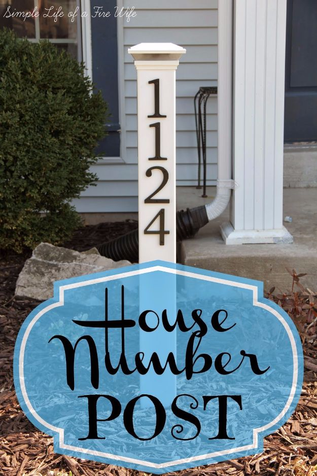 DIY House Numbers - House Number Post - DIY Numbers To Put In Front Yard and At Front Door - Architectural Numbers and Creative Do It Yourself Projects for Making House Numbers - Easy Step by Step Tutorials and Project Ideas for Home Improvement on A Budget http://diyjoy.com/diy-house-numbers