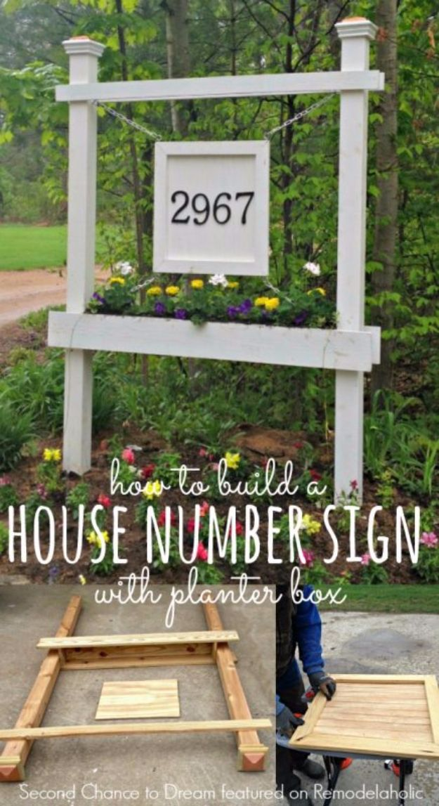 DIY House Numbers - House Number Sign With Planter Box - DIY Numbers To Put In Front Yard and At Front Door - Architectural Numbers and Creative Do It Yourself Projects for Making House Numbers - Easy Step by Step Tutorials and Project Ideas for Home Improvement on A Budget http://diyjoy.com/diy-house-numbers