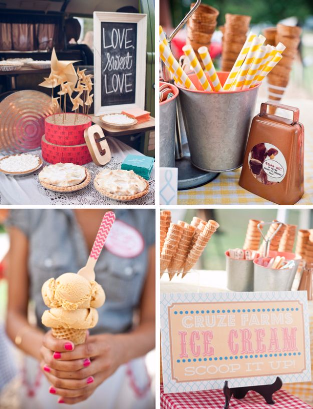 DIY Outdoors Wedding Ideas - Ice Cream Bar - Step by Step Tutorials and Projects Ideas for Summer Brides - Lighting, Mason Jar Centerpieces, Table Decor, Party Favors, Guestbook Ideas, Signs, Flowers, Banners, Tablecloth #wedding #diy