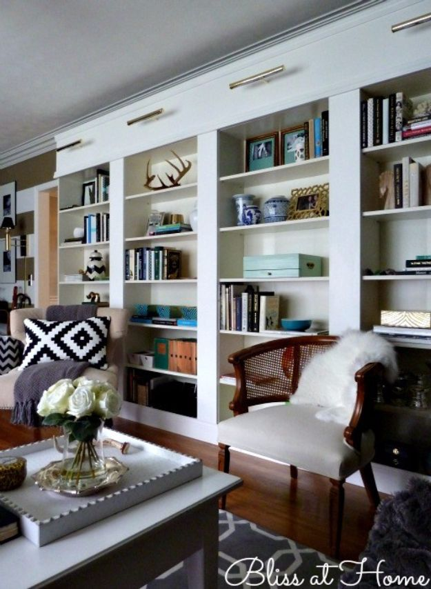 DIY Home Improvement On A Budget - Ikea Billy Bookcase Library Wall - Easy and Cheap Do It Yourself Tutorials for Updating and Renovating Your House - Home Decor Tips and Tricks, Remodeling and Decorating Hacks - DIY Projects and Crafts by DIY JOY http://diyjoy.com/diy-home-improvement-ideas-budget