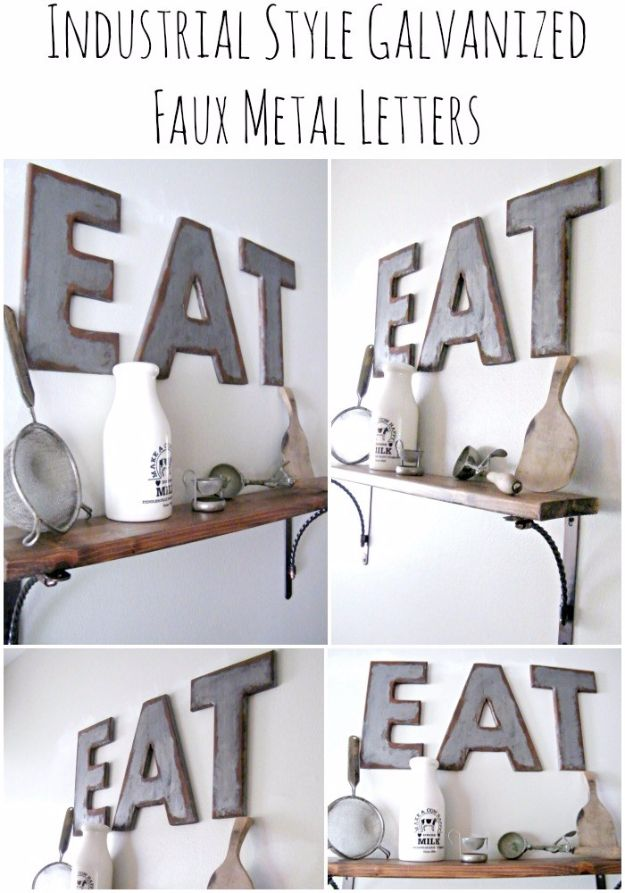 DIY Wall Letters and Word Signs - Industrial Style Galvanized & Rusted Letters - Initials Wall Art for Creative Home Decor Ideas - Cool Architectural Letter Projects and Wall Art Tutorials for Living Room Decor, Bedroom Ideas. Girl or Boy Nursery. Paint, Glitter, String Art, Easy Cardboard and Rustic Wooden Ideas - DIY Projects and Crafts by DIY JOY #diysigns #diyideas #diyhomedecor