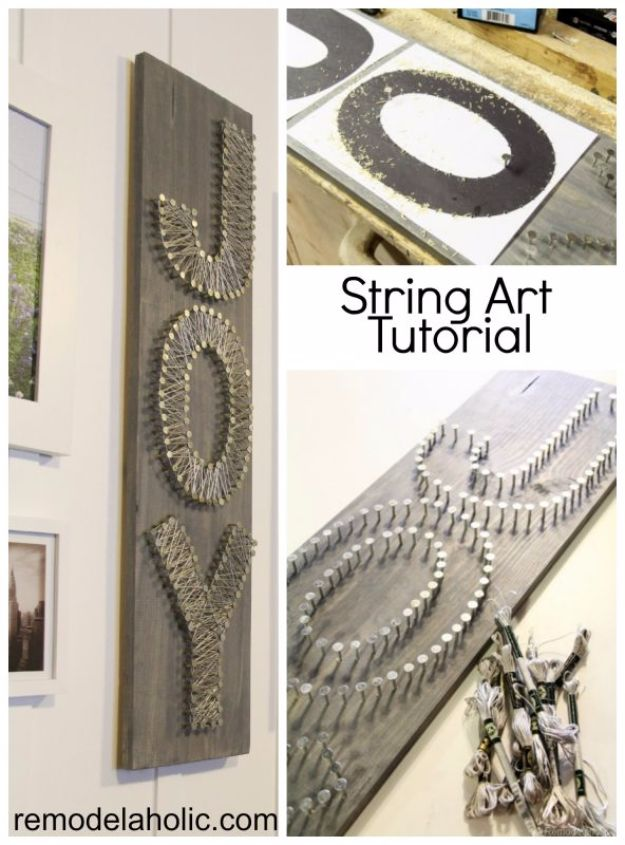 DIY Wall Letters and Word Signs - JOY String Art Word Sign - Initials Wall Art for Creative Home Decor Ideas - Cool Architectural Letter Projects and Wall Art Tutorials for Living Room Decor, Bedroom Ideas. Girl or Boy Nursery. Paint, Glitter, String Art, Easy Cardboard and Rustic Wooden Ideas - DIY Projects and Crafts by DIY JOY #diysigns #diyideas #diyhomedecor