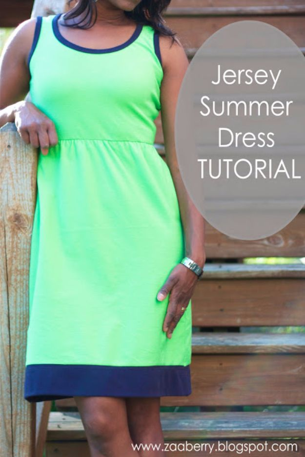 DIY Dresses to Sew for Summer - Jersey Summer Dress - Best Free Patterns For Dress Ideas - Easy and Cheap Clothes to Make for Women and Teens - Step by Step Sewing Projects - Short, Summer, Winter, Fall, Inexpensive DIY Fashion http://diyjoy.com/sewing-dresses-patterns-summer