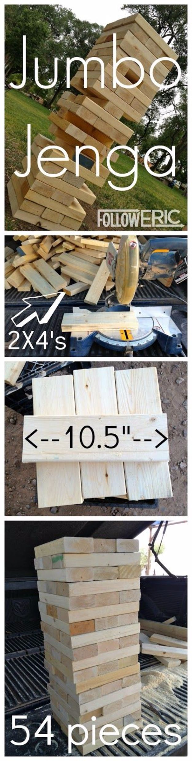Best DIY Backyard Games - Jumbo Jenga - Cool DIY Yard Game Ideas for Adults, Teens and Kids - Easy Tutorials for Cornhole, Washers, Jenga, Tic Tac Toe and Horseshoes - Cool Projects for Outdoor Parties and Summer Family Fun Outside #diy #backyard #kids #games
