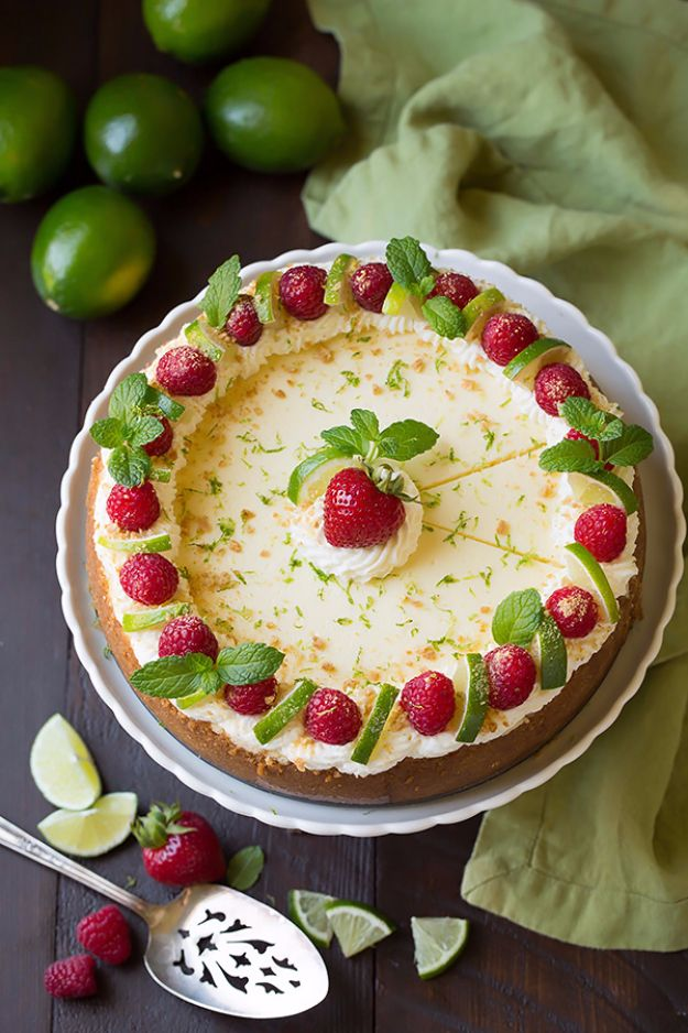 Best Cheesecake Recipes - Key Lime Cheesecake - Easy and Quick Recipe Ideas for Cheesecakes and Desserts - Chocolate, Simple Plain Classic, New York, Mini, Oreo, Lemon, Raspberry and Quick No Bake - Step by Step Instructions and Tutorials for Yummy Dessert - DIY Projects and Crafts by DIY JOY http://diyjoy.com/best-cheesecake-recipes