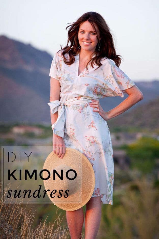 DIY Dresses to Sew for Summer - Kimono Sundress - Best Free Patterns For Dress Ideas - Easy and Cheap Clothes to Make for Women and Teens - Step by Step Sewing Projects - Short, Summer, Winter, Fall, Inexpensive DIY Fashion http://diyjoy.com/sewing-dresses-patterns-summer