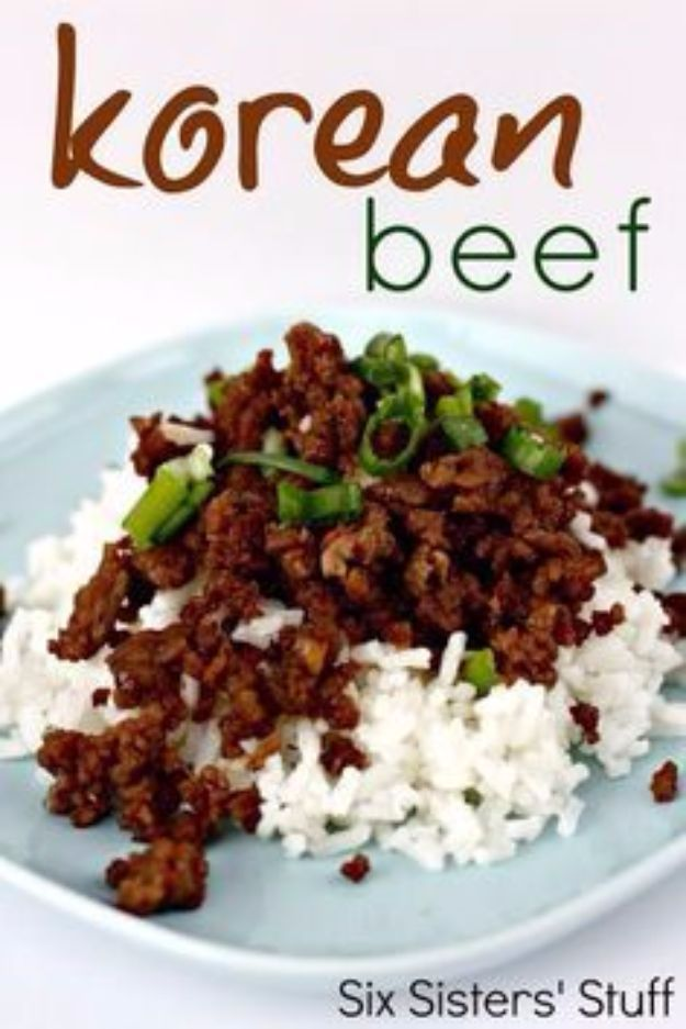 Best Rice Recipes - Korean Beef and Rice - Easy Ideas for Quick Meals Made From a Bag of Rice - Healthy Recipes With Brown, White and Arborio Rice - Cheesy, Fried, Asian, Mexican Flavored Dinner Dishes and Side Dishes - DIY Projects and Crafts by DIY JOY