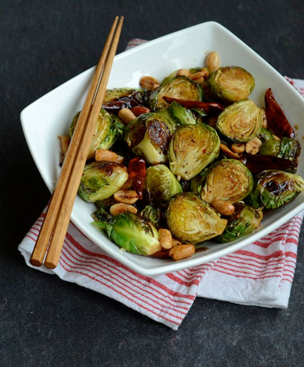 Best Brussel Sprout Recipes - Kung Pao Brussels Sprouts - Easy and Quick Delicious Ideas for Making Brussel Sprouts With Bacon, Roasted, Creamy, Healthy, Baked, Sauteed, Crockpot, Grilled, Shredded and Salad Recipe Ideas - Cool Lunches, Dinner, Snack, Side and DIY Dinner Vegetable Dishes http://diyjoy.com/best-brussel-sprout-recipes